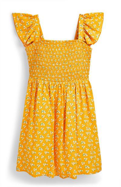 Older Girl Yellow Shirred Woven Dress