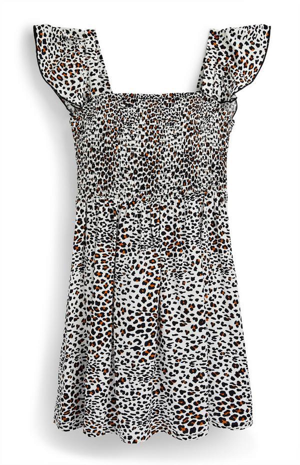 Vestido tecido franzido padrão leopardo rapariga