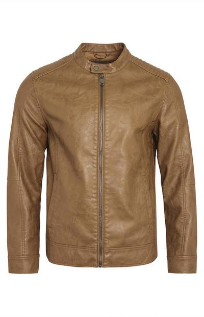 Taupe Faux PU Leather Biker Jacket