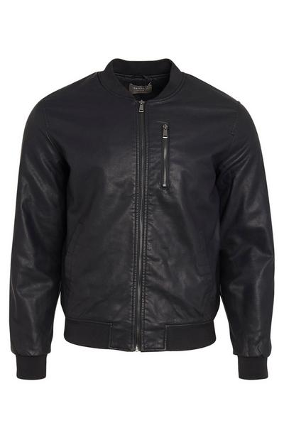 Black Faux Leather PU Bomber
