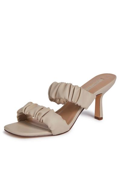 Ivory Double Strap Scrunched Mules