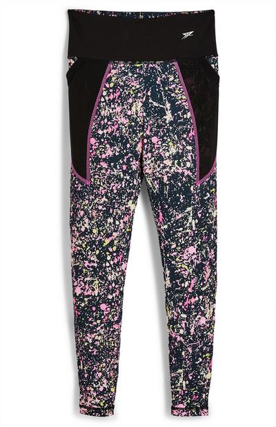 Older Girl Active Black Paint Print Leggings