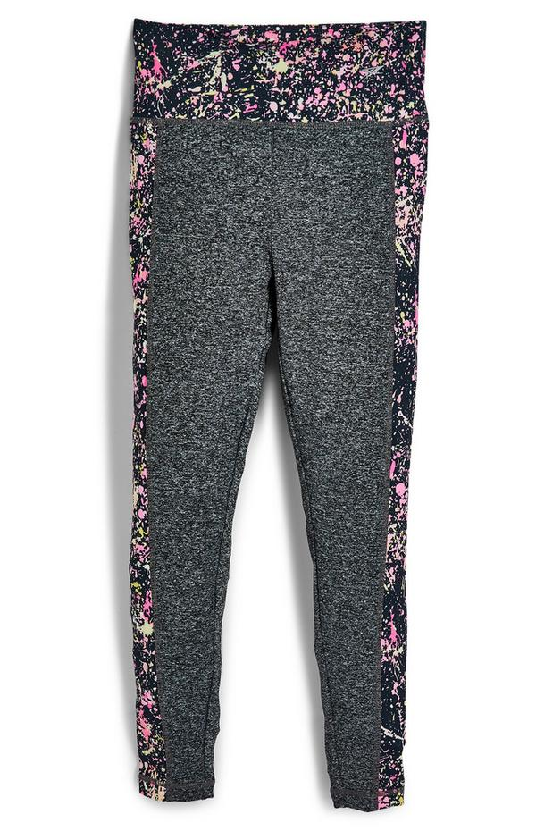 Leggings desportivas estampado pintura rapariga cinzento