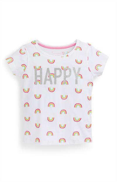 T-shirt estampado arco-íris menina branco