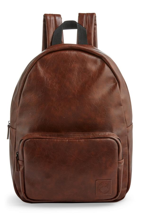 Brown Faux PU Leather Backpack