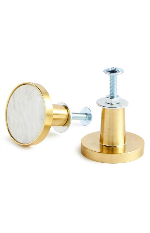 Goudkleurige en witte marmeren deurknoppen, set van 2