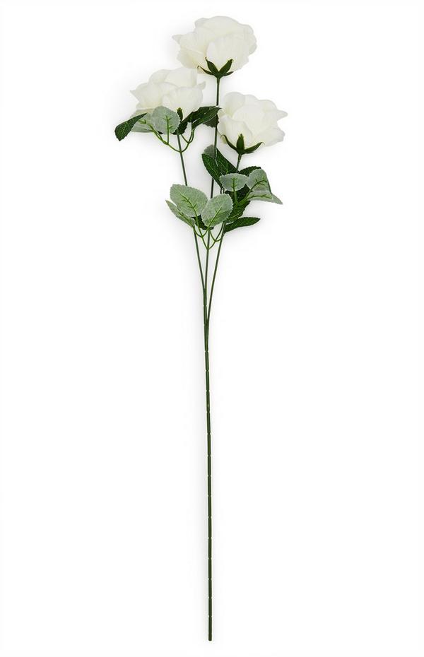 Faux Single Stem White Rose Flowers