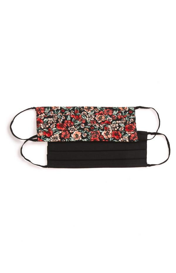 2-Pack Red And Black Print Woven Face Masks