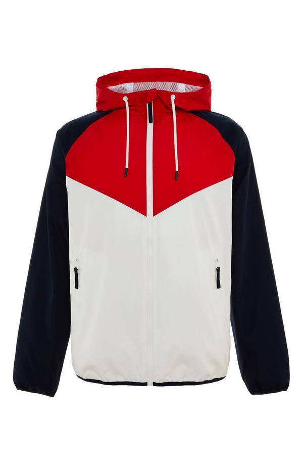 White/Red Colorblock Zip Chevron Jacket