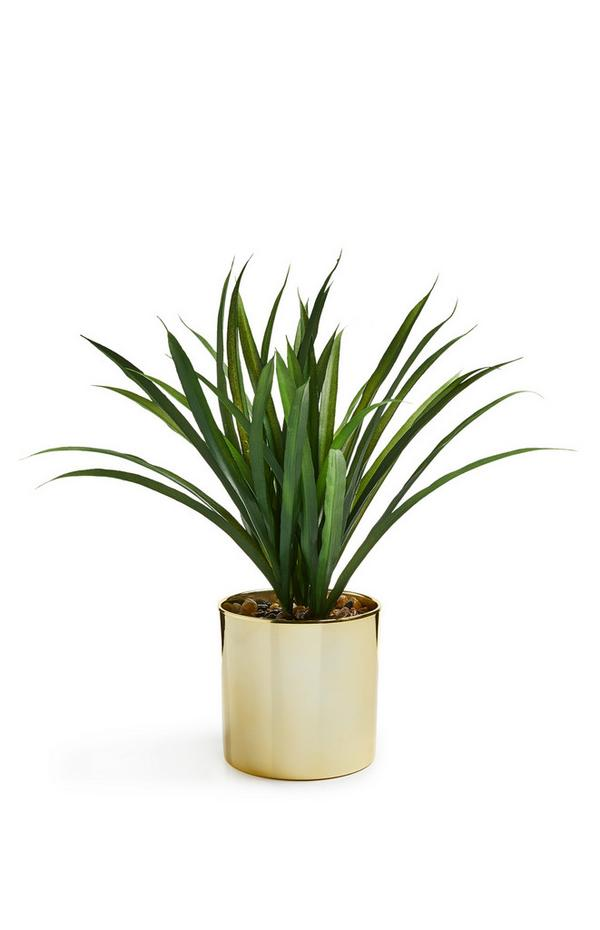 Großer, goldfarbener Kunstpflanzentopf