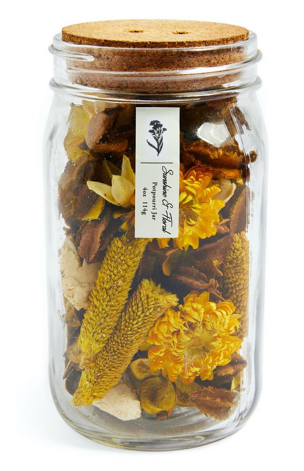 Sunshine And Floral Potpourri Jar With Cork Lid