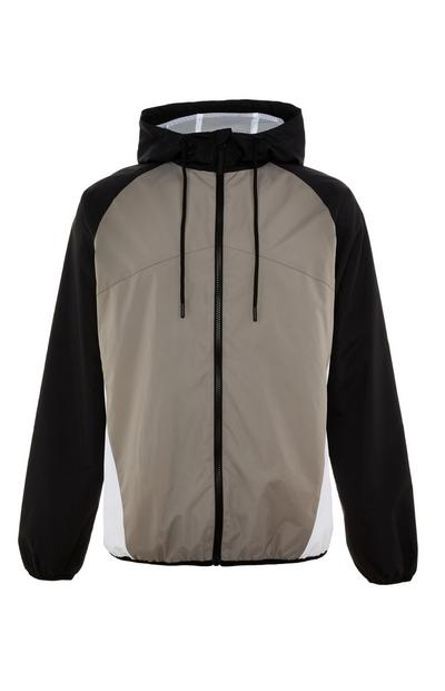 Black And Taupe Zip Up Colourblock Jacket