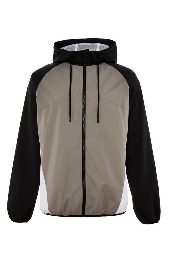 Black/Taupe Zip Colorblock Jacket