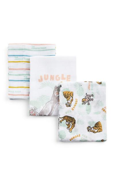 3-Pack White The Jungle Book Print Burp Cloths