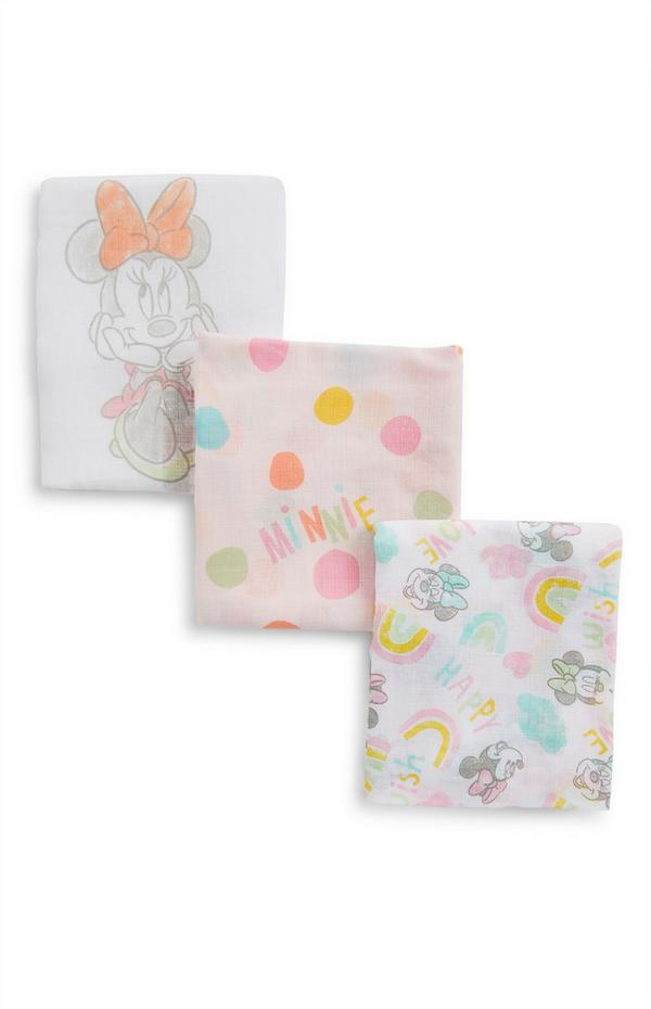 Multicoloured Disney Minnie Mouse Print Baby Muslins 3 Pack