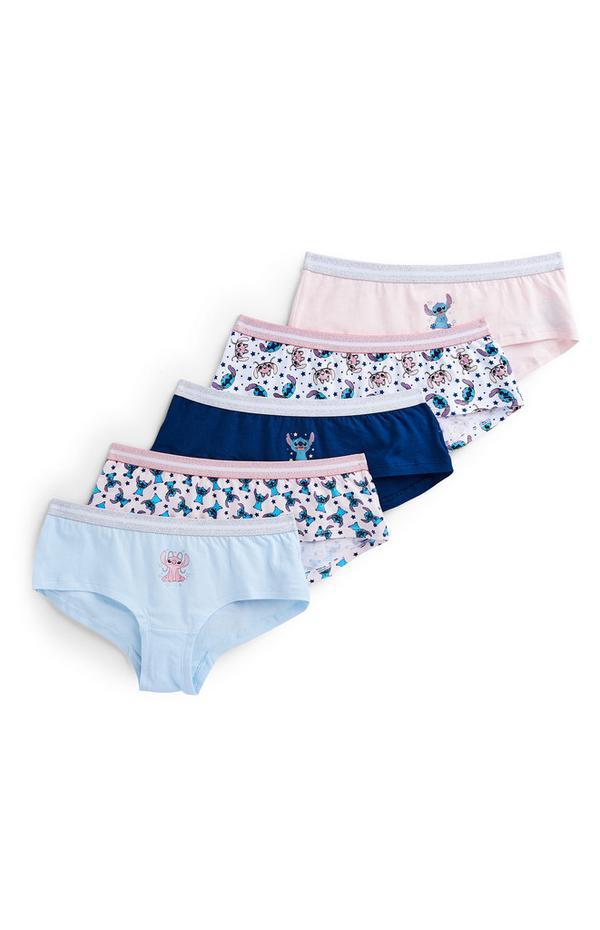 Girls Lilo And Stitch Short Briefs 5 Pack