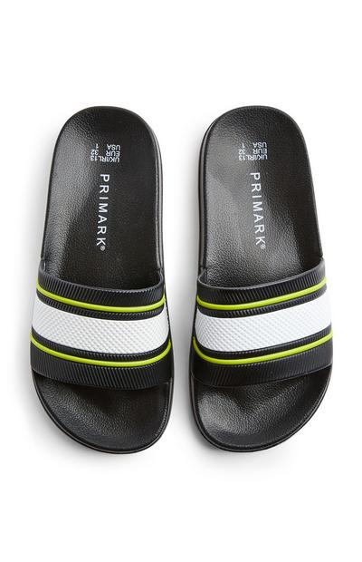 Older Boy Black Stripe Sliders