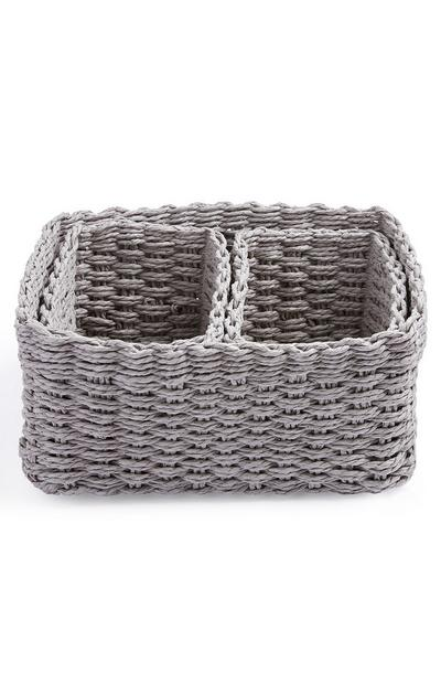 Grey Paper Rope Basket 3 Pack