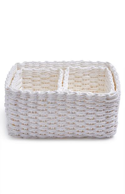 3-Pack White Paper Rope Baskets