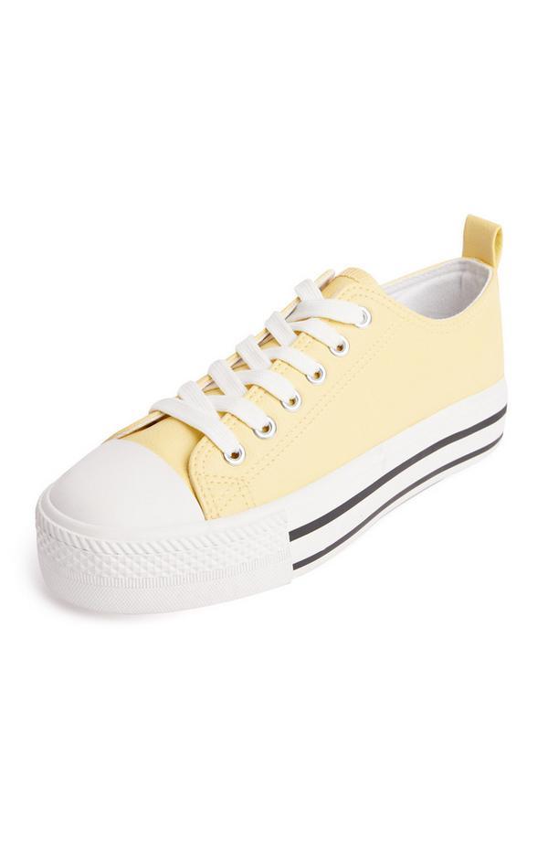 Baskets compensées jaune citron classiques en simili cuir