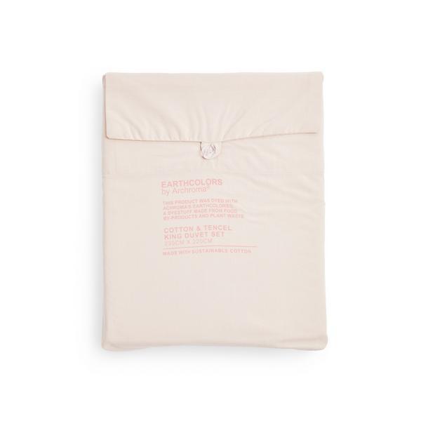 Parure de lit king size rose poudré en coton biologique et tencel Earthcolors by Archroma Primark Cares