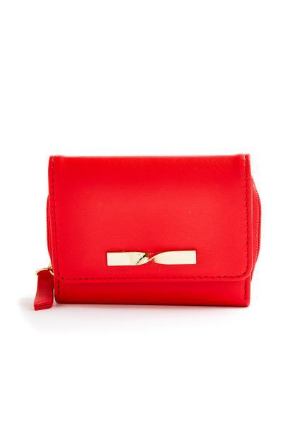 Rote, mittelgroße Geldbörse mit gedrehter Schleife