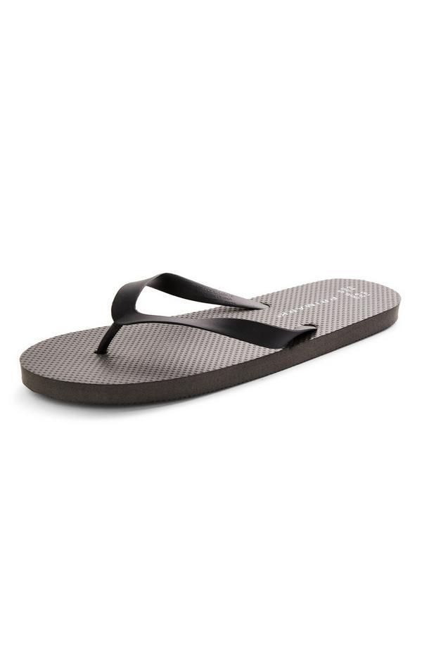 Black Plain Flip Flops