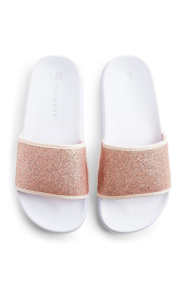 Roze-gouden slippers met glitters voor oudere meisjes