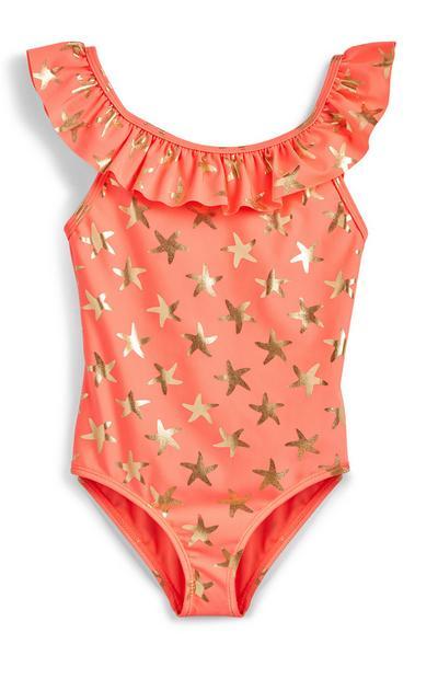 Younger Girl Orange Foil Star Print Swimsuit