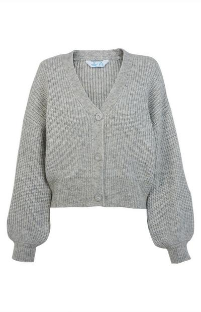 Grey Balloon Sleeve V Neck Cardigan