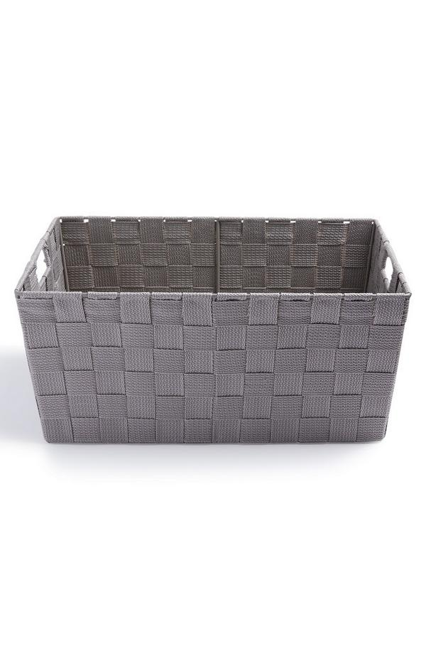 Gray Medium Woven Basket
