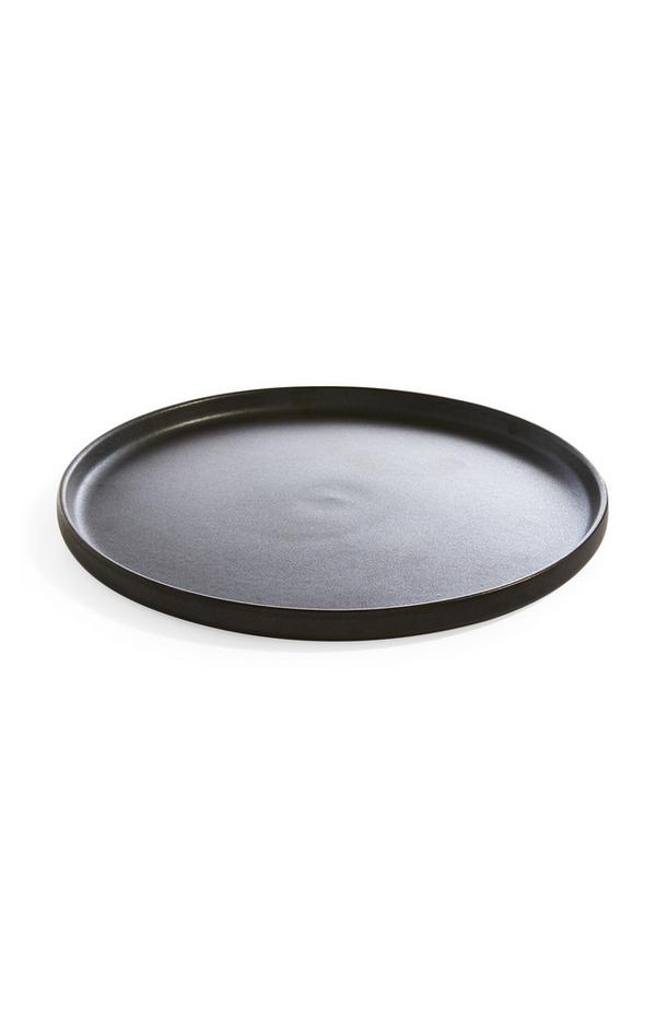 Plato grande negro de cerámica