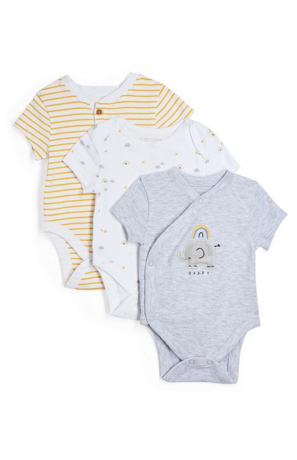 Pack de 3 bodis de algodón orgánico para recién nacido