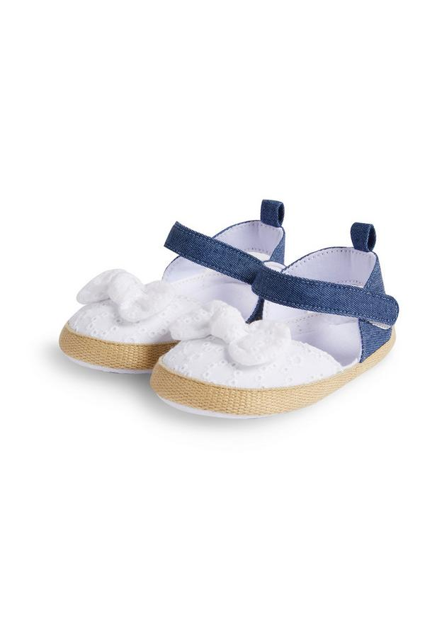 Baby Girl White Broiderie Espadrilles
