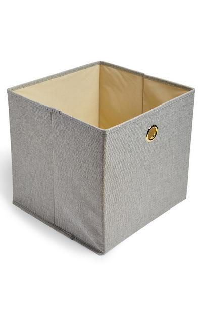 Grey Solid Woven Cube Storage Box