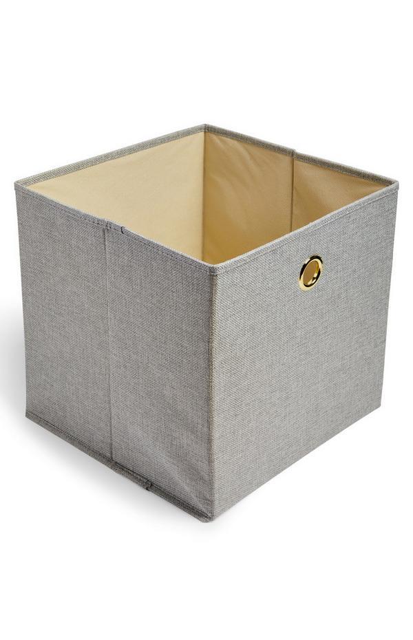 Gray Solid Woven Cube Storage Box