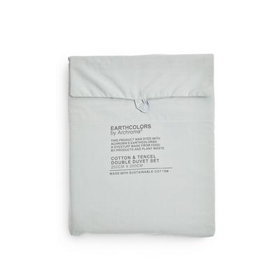 """Mintgrünes """"Earthcolors by Archroma"""" Bettwäscheset für Doppelbett aus Bio-Baumwolle und Tencel"""