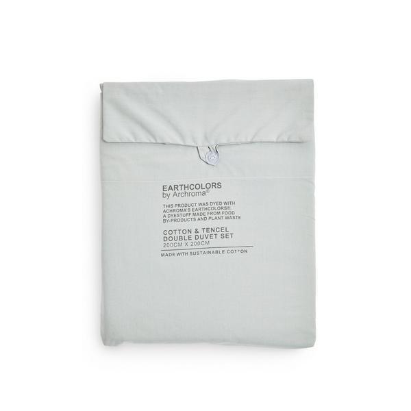 Parure de lit double vert menthe en coton bio et tencel Earthcolors par Archroma Primark Cares