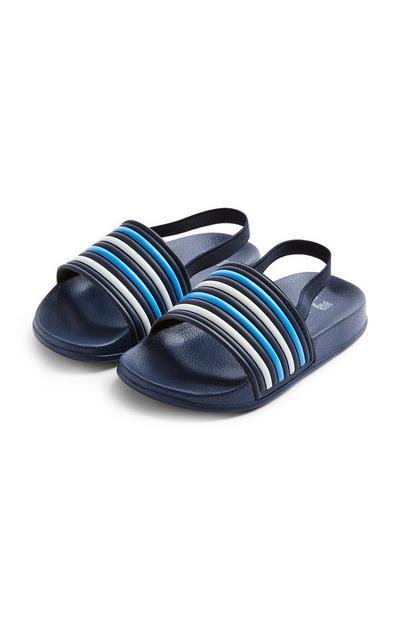 Younger Boy Navy Stripe Sliders