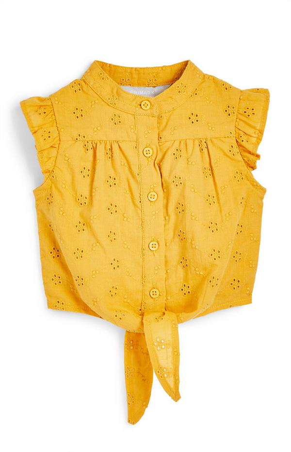 Baby Girl Yellow Tie Front Shiffley Blouse