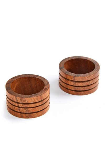Brown Wooden Napkin Rings 2 Pack