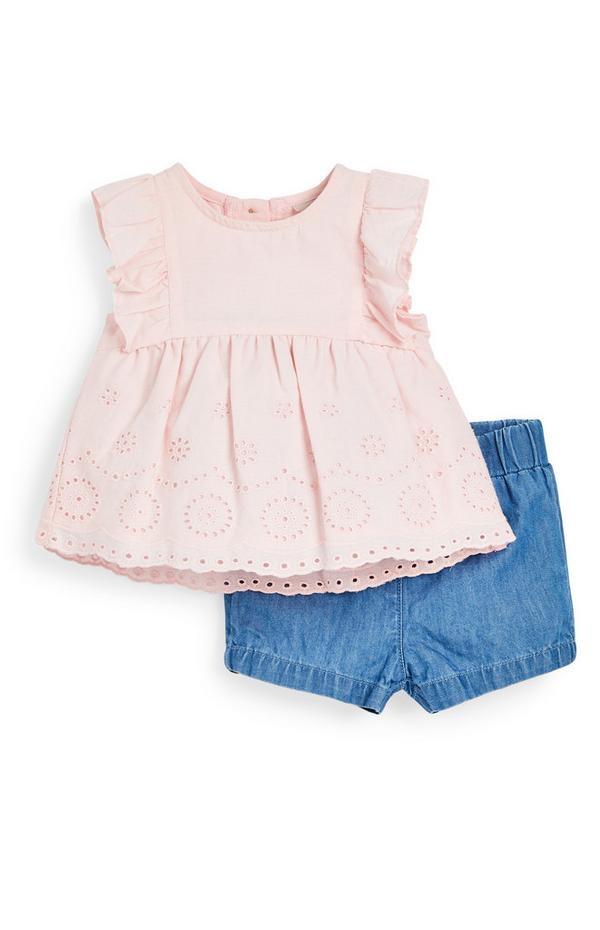 Baby Girl Pink Blouse And Shorts 2-Piece Set