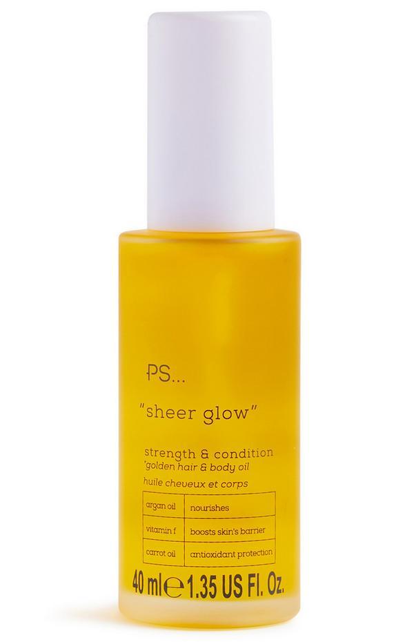 Aceite corporal y acondicionador capilar reforzante e iluminador «Sheer Glow» de Ps