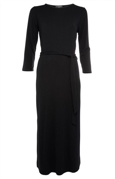 Robe mi-longue noire en jersey à ceinture