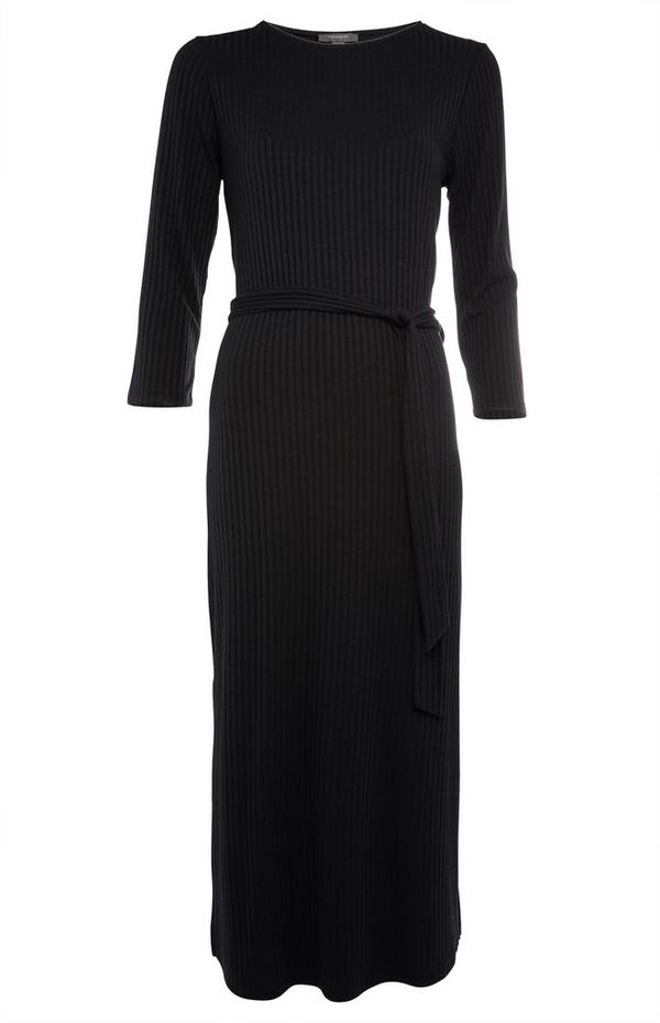Black Jersey Belted Midi Dress