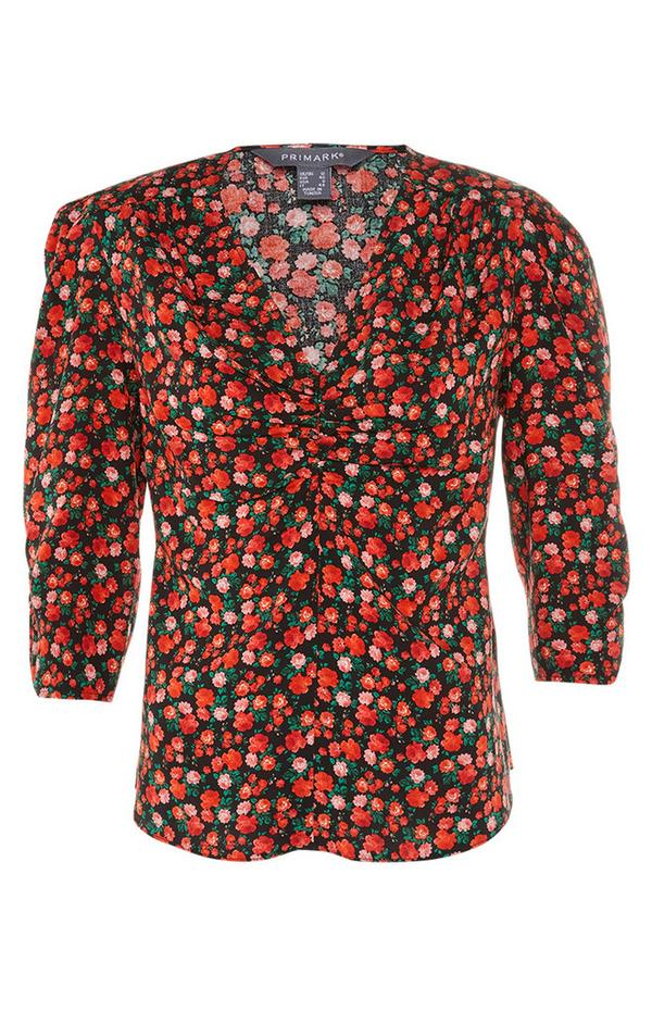 Red Print Ruche Front Tea Top