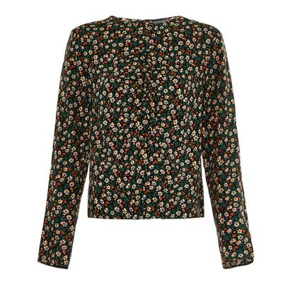 Black Floral Print Rouched Front Blouse