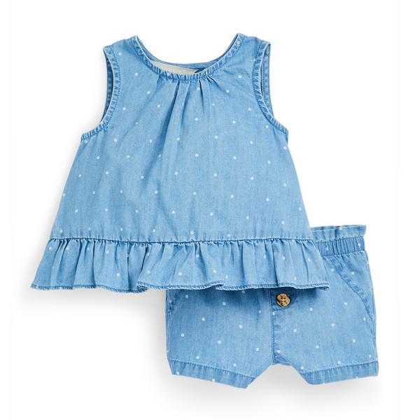 Ensemble chemisier et short bleus en chambray bébé fille