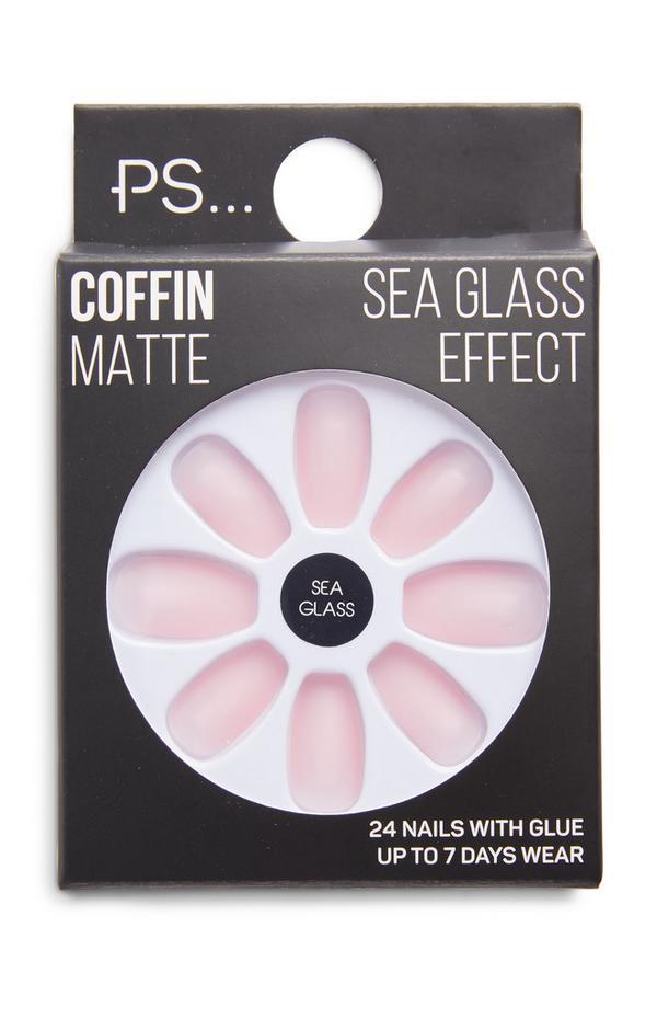 PS Pink Sea Glass Effect Coffin Matte Faux Nails