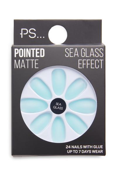 Unghie finte blu opache a punta Sea Glass Effect PS